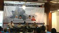 Poltracking Indonesia merilis hasil survei Peta Elektoral Kandidat Calon Gubernur (Cagub)-Calon Wakil Gubernur (Cawagub) Pilkada Jawa Timur 2018. (Liputan6.com/Devira Prastiwi)