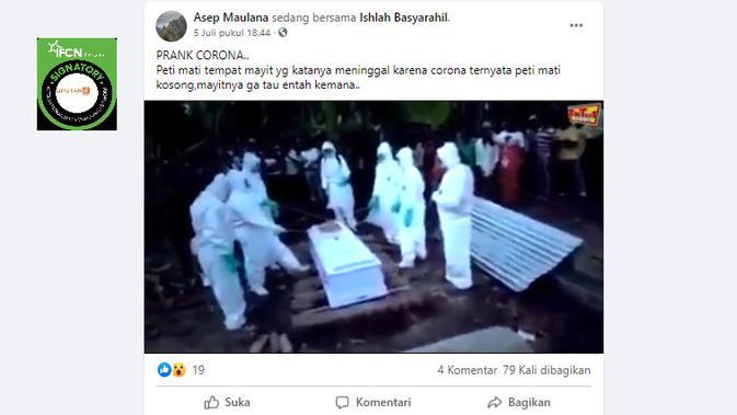 Cek Fakta Liputan6.com menelusuri klaim video peti mati jenazah Covid-19 kosong saat Hendak dikubur