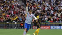 Striker Manchester United atau MU Cristiano Ronaldo merayakan golnya ke gawang Young Boys pada laga Grup F Liga Champions di Stadion Wankdorf, Bern, 14 September 2021. (SEBASTIEN BOZON / AFP)