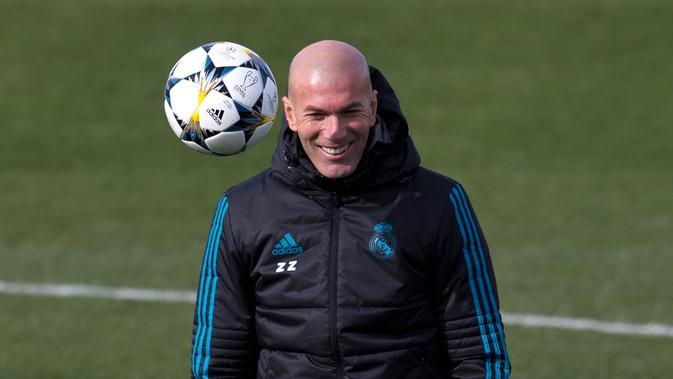 Pelatih Real Madrid, Zinedine Zidane. (AP Photo/Paul White)