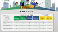 Selembaran harga vaksinasi berbayar untuk dosis ke-1 dan ke-2 menggunakan vaksin Sinopharm di SpeedLab Indonesia