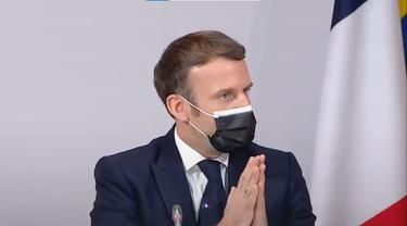 Presiden Prancis Emmanuel Macron di acara iklim pada 14 Desember 2020 sebelum positif COVID-19.