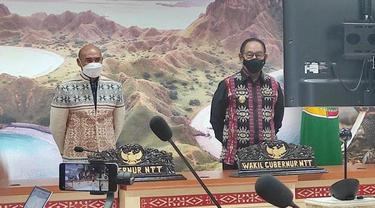 Gubernur NTT Viktor Bungtilu Laiskodat dan Wagub NTT Josef Adrianus Nae Soi bersama pejabat mengikuti peresmian bandara Pantar Kabupaten Alor ruang rapat Gubernur secara virtual  .(Foto istimewah)