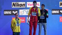 Pernang Australia, Mack Horton enggan berbagi podium dengan perenang Tiongkok, Sun Yang pada kejuaraan renang dunia di Korea Selatan (Ed JONES / AFP)