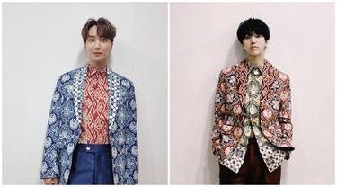 6 Potret Leeteuk dan Yesung Super Junior Pakai Batik Rancangan Ridwan Kamil, Curi Perhatian