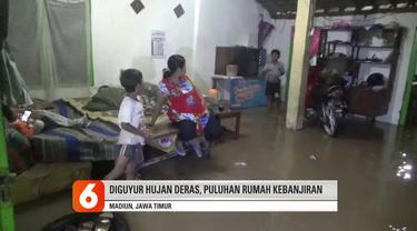 Hujan deras pada hari Sabtu (9/5) memicu banjir di sejumlah wilayah di Kota Madiun. Puluhan rumah warga terendam air sampai ketinggian 50-70 cm, akibat banjir aktivitas ratusan warga setempat lumpuh total.