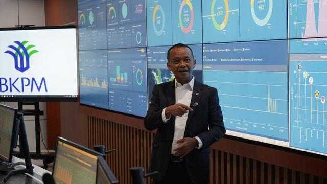 Kepala BKPM RI, Bahlil Lahadalia, saat memberi sambutan dalam peresmian gedung Dinas Penanaman Modal dan Pelayanan Terpadu Satu Pintu (DPMPTST) Sulteng, Rabu (15/7/2020).