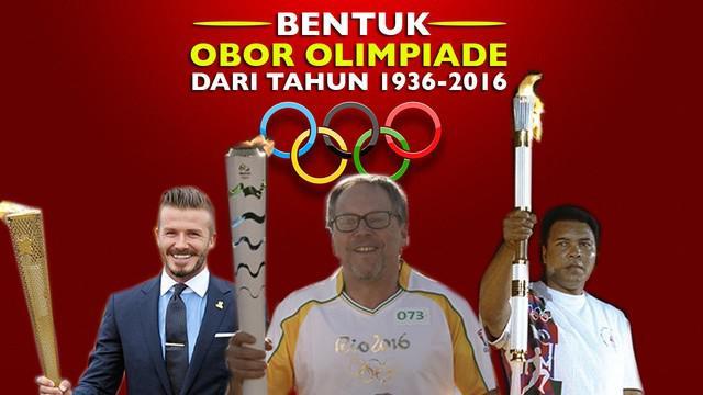 Video Obor Olimpiade dari tahun 1936 hingga 2016, salah satunya obor olimpiade Rio 2016 di Brasil.
