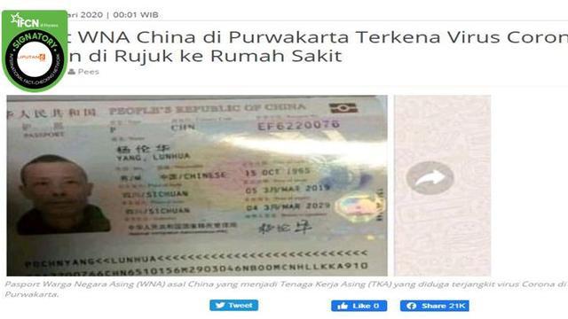 Cek Fakta Wna China Di Purwakarta Terkena Virus Corona Ini Faktanya Cek Fakta Liputan6 Com