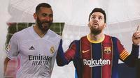 Karim Benzema dan Lionel Messi. (Bola.com/Dody Iryawan)