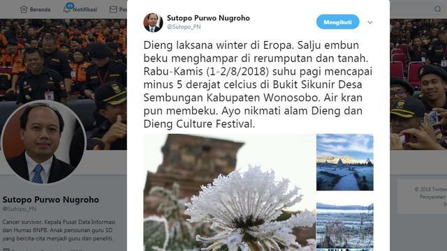 Tangkapan layar Twit Juru Bicara BNPB Sutopo Purwo Nugroho. ( Foto: Liputan6.com/Sutopo Purwo Nugroho-via Twitter/Muhamad Ridlo).