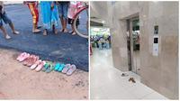 Aksi orang yang lepas sandal di tempat umum ini kocak banget. (Sumber: Twitter/@gothed/Facebook/Agung S Pranoto)