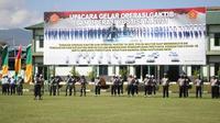 Apel pasukan dalam Operasi Gaktib dan Operasi Yustisi TA 2021 yang digelar di Lapangan Makodam XIII/Merdeka Manado, Sulut, Kamis (25/2/2021).