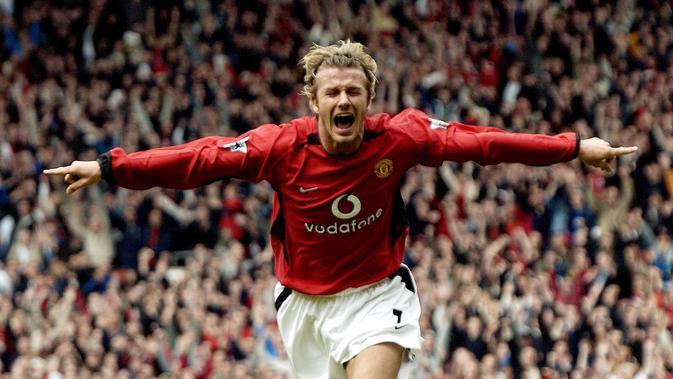 3. David Beckham - Beckham termasuk jajaran pemain terbaik Man United sejak tahun 1991 bersama Ryan Giggs dan Paul Scholes. Di Man United ia meraih segalanya dengan enam gelar Premier League dan satu Liga Champions. (AFP/Paul Barker)