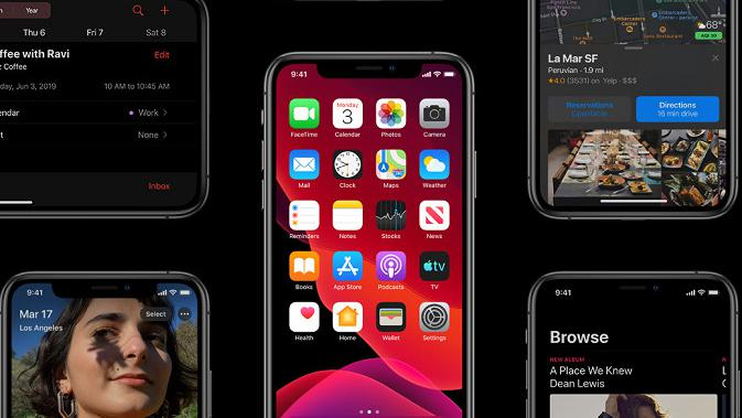 Tampilan dark mode di iOS 13 (sumber: Apple)