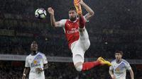 Striker Arsenal Oliver Giroud beraksi saat melawan Sunderland (AP Photo/Matt Dunham)