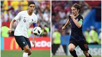 Duo Real Madrid, Raphael Varane dan Luka Modric, saling sikut di final Piala Dunia 2018. (AFPFranck Fife, Pierre-Philippe Marcou)