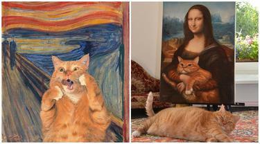 Seniman Ini Gabungkan Kucingnya dengan Lukisan Terkenal, 7 Hasilnya Jadi Sorotan
