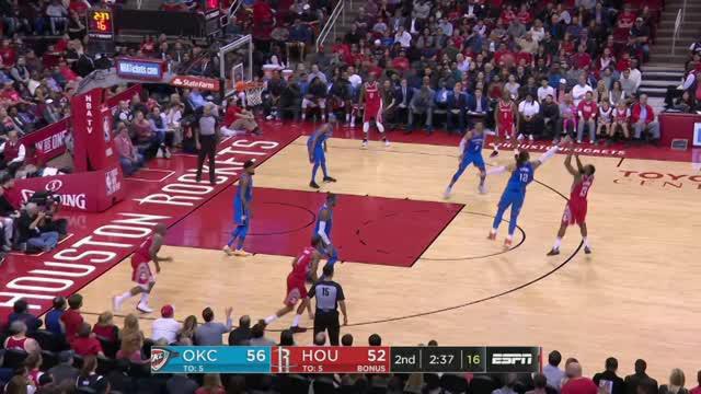 Berita video game recap NBA 2017-2018 antara Oklahoma City Thunder melawan Houston Rockets dengan skor 108-102.