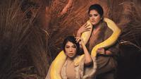 Kahiyang Ayu potret bersama seekor ular sanca kuning (Dok.Instagram/@ayangkahiyang/https://www.instagram.com/p/B6AwxC-FIpt/Komarudin)