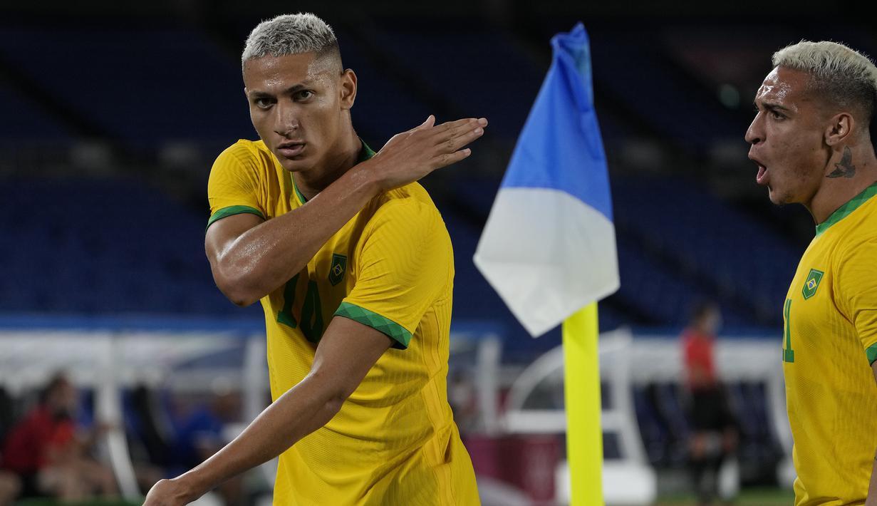 Foto: Richarlison Hattrick, Brasil Bungkam Jerman 4-2 di Laga Pembuka Penyisihan Grup D Cabang Sepak Bola Olimpiade Tokyo 2020 - Dunia Bola.com