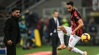 Pelatih AC Milan, Gennaro Gattuso, mengakui jika anak asuhnya dibuat kerepotan saat bersua F91 Dudelange pada laga kelima Grup F Liga Europa di San Siro, Kamis (29/11/2018) malam waktu setempat. (AFP/Miguel Medina)