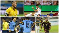 Pencetak gol Kemenangan pada kualifikasi Piala Dunia 2018 zona Conmebol. (Bola.com/AFP/Reuters/)