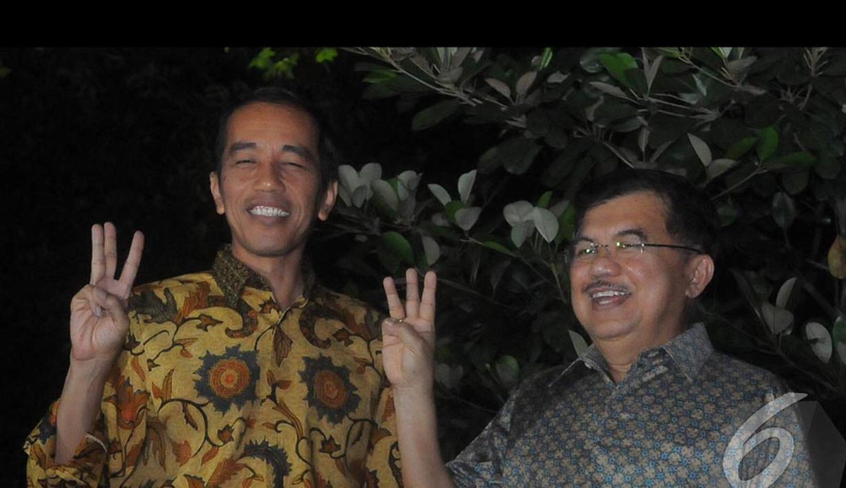 Jokowi dan JK mengadakan jumpa pers terkait hasil putusan MK, Jakarta, Kamis (21/8/2014) (Liputan6.com/Herman Zakharia)
