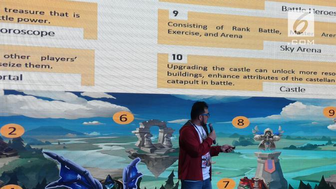GM Games Telkomsel, Auliya Ilman, saat peluncuran gim Lord of Estera di Jakarta, Senin (30/9/2019). (Liputan6.com/ Agustinus Mario Damar)