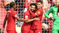 Mohamed Salah merayakan gol Liverpool ke gawang Newcastle United. (AFP/Paul Ellis)
