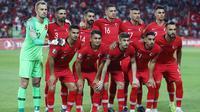 Timnas Turki jelang menjamu Prancis di kualifikasi Piala Eropa di Buyuksehir Belediyesi Stadium, Konya, Turki (8/6/2019). ((AFP/Adem Altan)