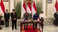 Penandatanganan Perjanjian Hibah Antara Pemerintah Republik Indonesia dan ASEAN untuk pelaksanaan repatriasi di Rohingya. (Source: Liputan6.com/ Benedikta Miranti T.V)