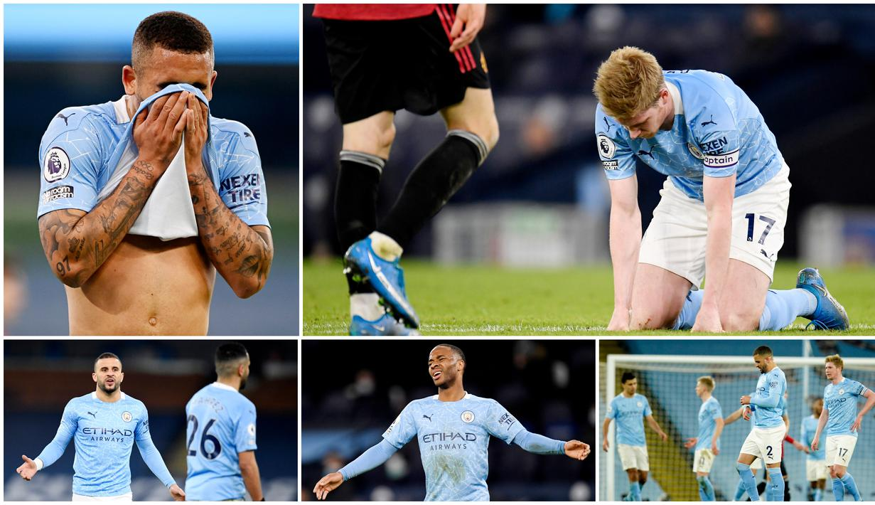 Para penggawa Manchester City tampak kecewa berat usai dipermalukan Manchester United dengan dua gol tanpa balas pada laga Liga Inggris. Berikut ragam reaksi para pemain City di Etihad tadi malam.