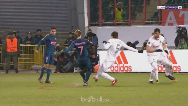 Berita video cuplikan kemenangan Atletico Madrid 5-1 atas Lokomotiv Moscow pada leg kedua 16 Besar Liga Europa 2017-2018. This video presented by BallBall.