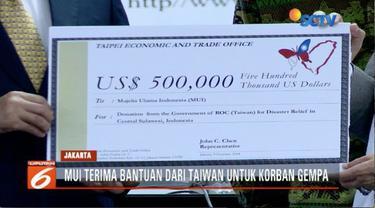 Taipei Economic and Trade Office berikan bantuan US$ 500 ribu (Rp 7,4 miliar) untuk korban bencana Palu dan Donggala.
