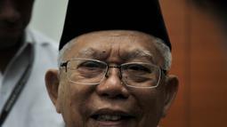 Calon Wakil Presiden dari nomor urut 01 KH Ma'ruf Amin menghadiri rapat rutin bersama petinggi dan anggota MUI di Kantor Majelis Ulama Indonesia (MUI), Jakarta, Selasa (13/11). (Merdeka.com/Iqbal S. Nugroho)
