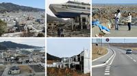Foto kombinasi kondisi porak-poranda wilayah pesisir Jepang setelah dihantam tsunami pada 11 Maret 2011 (atas) dan kondisi lokasi yang sama 10 tahun kemudian (bawah). Tepat hari ini 10 tahun lalu, gelombang tsunami akibat gempa berkekuatan magnitudo 9,0 menyapu wilayah pesisir Jepang. (AFP Photo)