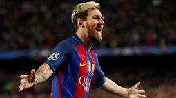 Hattrick Lionel Messi ke gawang Manchester City menambah koleksi hattrick-nya menjadi 7 di Liga Champions. Performanya berhasil mengungguli koleksi Cristiano Ronaldo, yang mengemas 5 hattrick. (Action Images via Reuters/John Sibley)