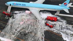 Gambar udara menunjukkan sejumlah penumpang berdiri di dekat pesawat Korean Air Lines setelah asap keluar dari bagian mesin sebelah kiri itu di bandara Haneda di Tokyo, Jepang, (27/5). (Reuters/ Kyodo)