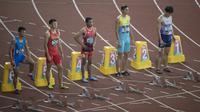 Pelari Indonesia, Lalu Muhammad Zohri, saat berlaga di nomor 100 meter putra di SUGBK, Jakarta, Sabtu (25/8/2018). Zohri sukses merebut satu tempat di semifinal setelah mencatatkan waktu 10.27 detik. (Bola.com/Vitalis Yogi Trisna)