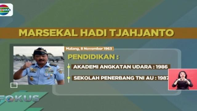Presiden Joko Widodo ajukan rekomendasi Marsekal TNI Hadi Cahyanto sebagai calon pengganti Jenderal Tni Gatot Nurmantyo kepada DPR.