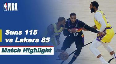 Berita video highlights Phoenix Suns menang 115-85 atas LA Lakers pada game kelima babak awal wilayah barat NBA Playoffs 2021, Rabu (2/6/2021) pagi hari WIB.