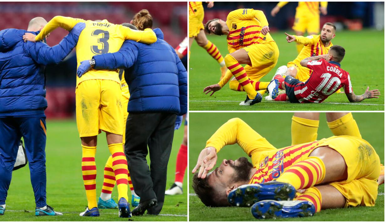 FOTO: Detik-detik Benturan Keras yang Membuat Gerard Pique Cedera Parah -  Spanyol Bola.com