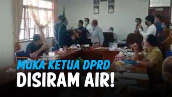 VIDEO: Detik-Detik Muka Ketua DPRD Humbahas Disiram Saat Rapat APBD