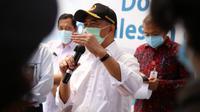 Menko PMK Muhadjir Effendy ungkap stok plasma konvalesen secara nasional masih sangat sedikit saat kunjungan di Kantor PLN Kota Surabaya dan UDD PMI Surabaya, Selasa (16/2/2021). (Kementerian Koordinator Bidang Pembangunan Manusia dan Kebudayaan)