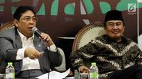 Wakil Ketua DPR RI dari Fraksi PDIP, Utut Adianto memberikan pendapatnya dalam diskusi Dialektika Demokrasi di Kompleks Parlemen, Senayan, Jakarta, Kamis (2/8). Diskusi tersebut membahas 'Kinerja Legislasi DPR RI'. (Liputan6.com/Johan Tallo)