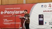 Dirjen Penyelenggaraan Pos Informatika, Ahmad M Ramli, saat jumpa pers tentang E-Penyiaran di ICE BSD, Kabupaten Tangerang, Kamis (22/8/2019). (Liputan6.com/ Pramita Tristiawati)