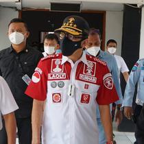 Menkumham Yasonna Laoly saat melihat penampakan Lapas Kelas I Tangerang usai kebakaran, Rabu (8/9/2021). (dok Kemenkumham)
