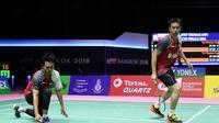 Hendra Setiawan / Mohammad Ahsan gagal menyumbangkan poin untuk Indonesia saat menghadapi Tiongkok pada semifinal Piala Thomas 2018 di Impact Arena, Bangkok, Thailand, Jumat (25/5/2018). (Humas PP PBSI)