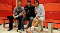 Cristiano Ronaldo (kiri), Raul Gonzalez, dan Rafael Nadal. (AFP/Jasper Juinen)